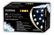 25 LED Outdoor Candle Timer Chaser - White