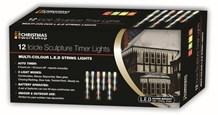 12 LED Icicle Timer Chaser Lights-Multi Coloured
