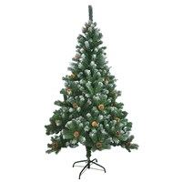 6FT Xmas Tree w/Snow & Cones-Green