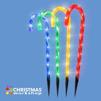 4PC 40LED Candy Cane Stick Stake Lights - Colour