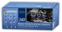 240 LED Icicle Chaser Lights - Blue & White