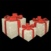 Red & Silver LED Gift Box- Set of 3