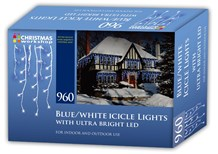 960 LED Icicle Light - Blue & White