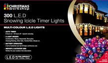 300 LED Snowing Icicle Timer Lights- Multi Colour