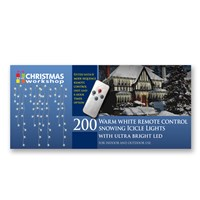 200 LED Remote Control Snow Icicle Lights-W.White