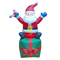 6FT LED Outdoor Inflatable Santa On Gift Box