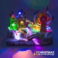 LED Xmas Village With Revolving Ferris Wheel