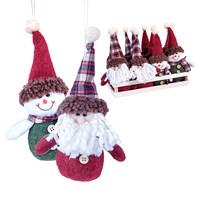 "6"" Assorted Snowman/Santa Ornament"
