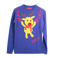 Ladies 3D Swinging Reindeer Jumper