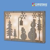 20 Copper LED Snowman Wooden Frame