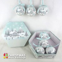 14pc Frosted Snow Xmas Village Bauble