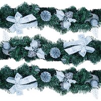 9FT Silver Poinsettia Garland