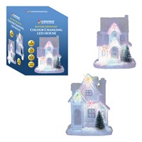Col Changing White Christmas Houses-2 Assorted
