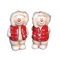 2 Ast Sml Snowmen W/Red Jacket