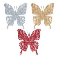 Glitter Butterfly Decoration- 3 Asst Colours