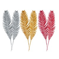2pk Glitter Feather Decoration