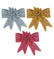 10cm Glitter Bow Decoration