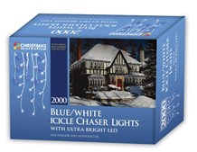2000 LED Icicle Chaser Lights - Blue & White