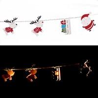 Wooden Santa&Reindeer Strg Lts