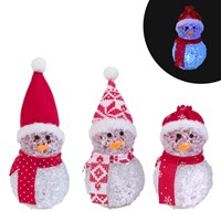 "5"" LED Colour Changing Mini Snowman - 3 Assorted"