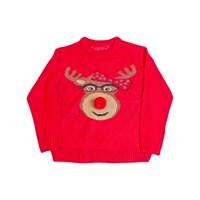 3D Kid's Xmas Red Reindeer Jumper W/Glasses Frame