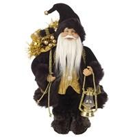 30cm Black Standing Santa