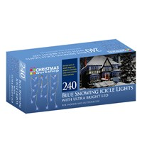 240 LED Snowing Icicle Lights - Blue