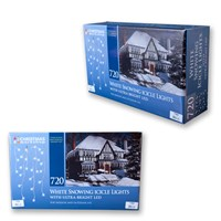 720 LED Snowing Icicle Lights - Cool White
