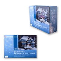 960 LED Snowing Icicle Lights - Blue & White