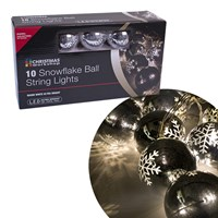 10 LED 6.5cm Snowflake Bauble Lights - W.White