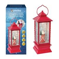LED Water & Glitter Santa Lantern - Red