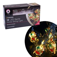 10 LED Santa Bauble String Lights- W.White
