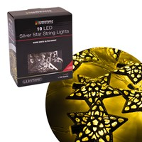 10 LED Silver Star String Light - W.White