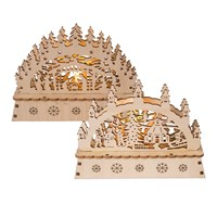 LED Wooden Light Up Outdoor Snow Scene-2 Assorted