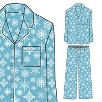 Blue Snowflake Print Pyjamas