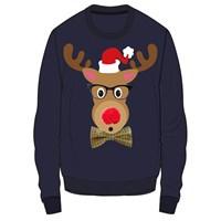 3D Reindeer W/Specs Xmas Jumper Mens