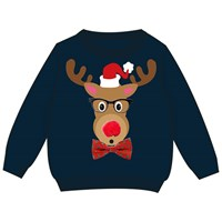 3D Kid's Xmas Reindeer Jumper W/Glasses Frame Boy