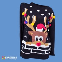 3D Mens Reindeer W/Red Pom Pom Jumper Mens