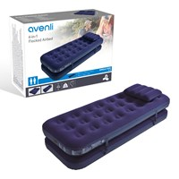 4 in 1 Flocked Airbed + Pillows