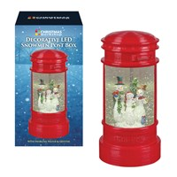 Festive Snowman LED Post Box. swirling glitter