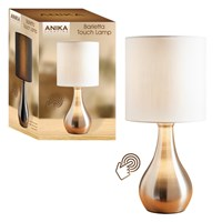 Silver Touch Lamp-White Shade