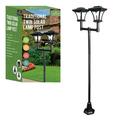 1.80m Twin Head Decorative Solar Lamp Post
