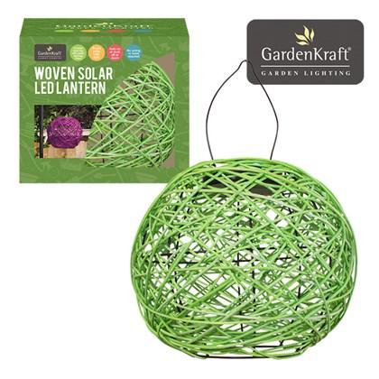 Apple Green Rattan Solar Lantern