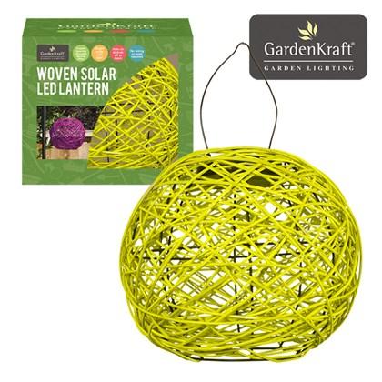 Yellow Rattan Solar Lantern