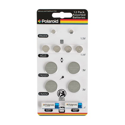12Pk Polaroid Assorted Alkaline Batteries
