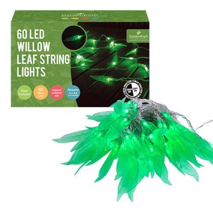 60 LED Green Willow Leaves String Light