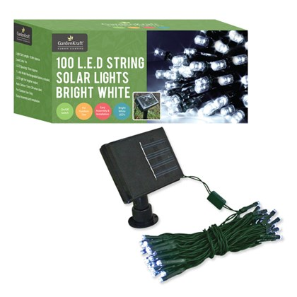 100 LED Solar String Lights - Bright White