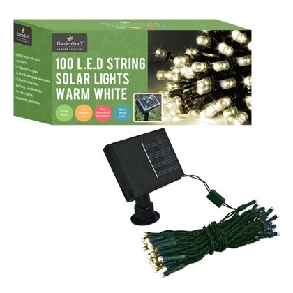 100 LED Solar String Lights Warm White
