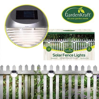 5PK Solar LED Fence Light - Silver