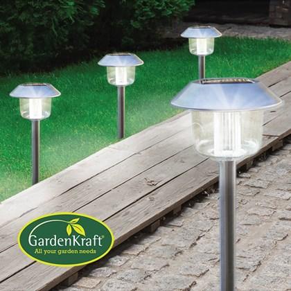 4PK S/Steel Solar LED Oblique Cap Stake Light